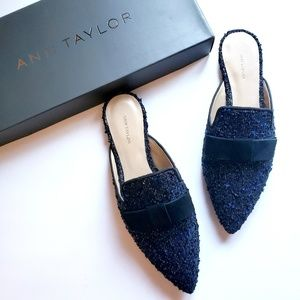 Ann Taylor Elsie Tweed Bow Slides Size 7.5M